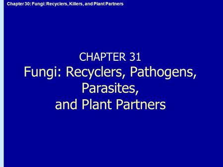 CHAPTER 31 Fungi: Recyclers, Pathogens, Parasites,