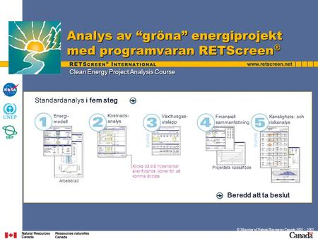 "Clean Energy Project Analysis Course Analys av ""gröna"" energiprojekt med programvaran RETScreen ® © Minister of Natural Resources Canada 2001 – 2005. Standardanalys."