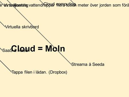 Cloud = Moln Cloud computing Virtualisering