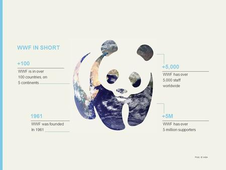 WWF IN SHORT WWF is in over 100 countries, on 5 continents +100 WWF was founded In 1961 1961 WWF has over 5,000 staff worldwide +5,000 WWF has over 5 million.