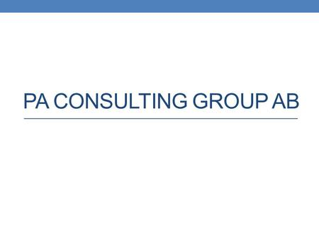PA Consulting group ab.