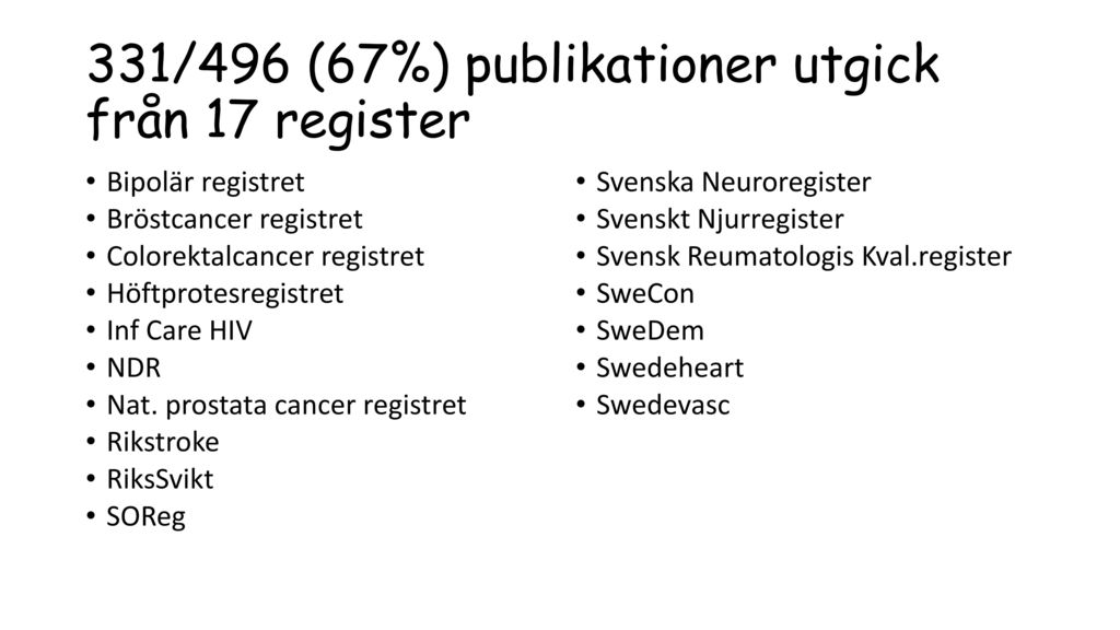 331/496 (67%) publikationer utgick från 17 register