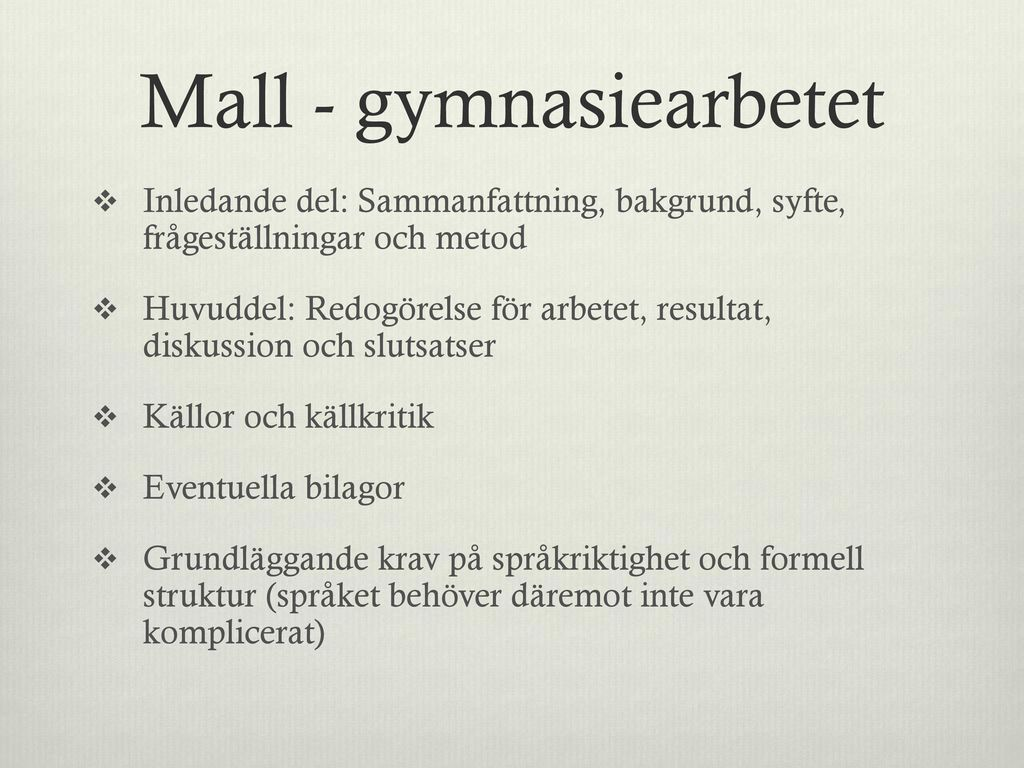Mall - gymnasiearbetet