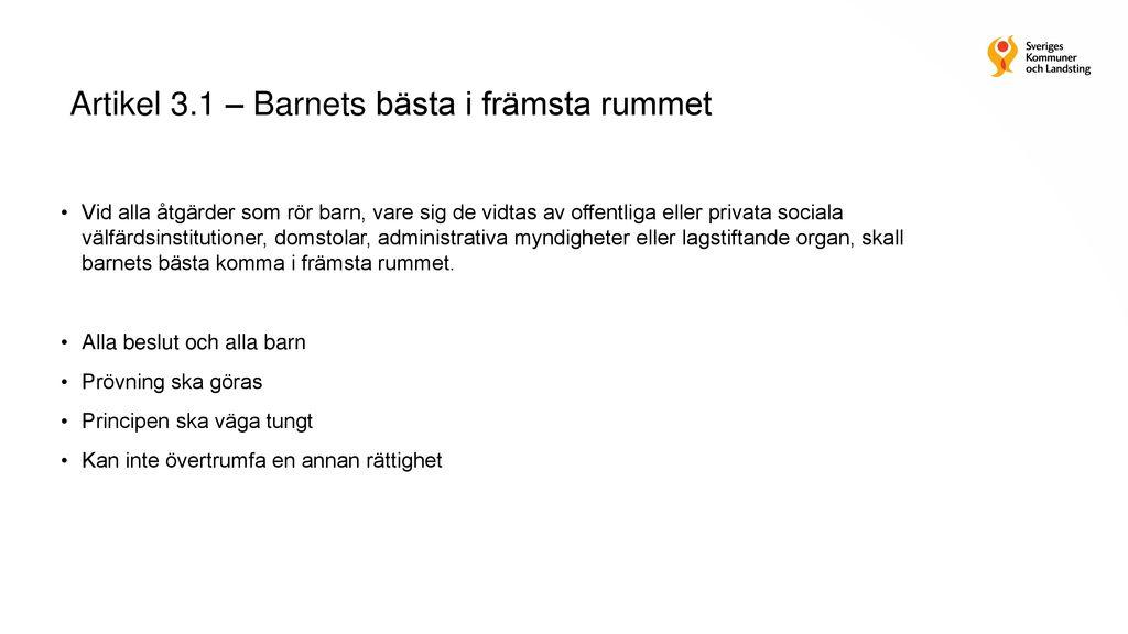9cba804b Barnkonventionen blir svensk lag SOU 2016:19 - ppt ladda ner