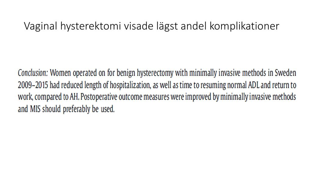 komplikationer vid hysterektomi