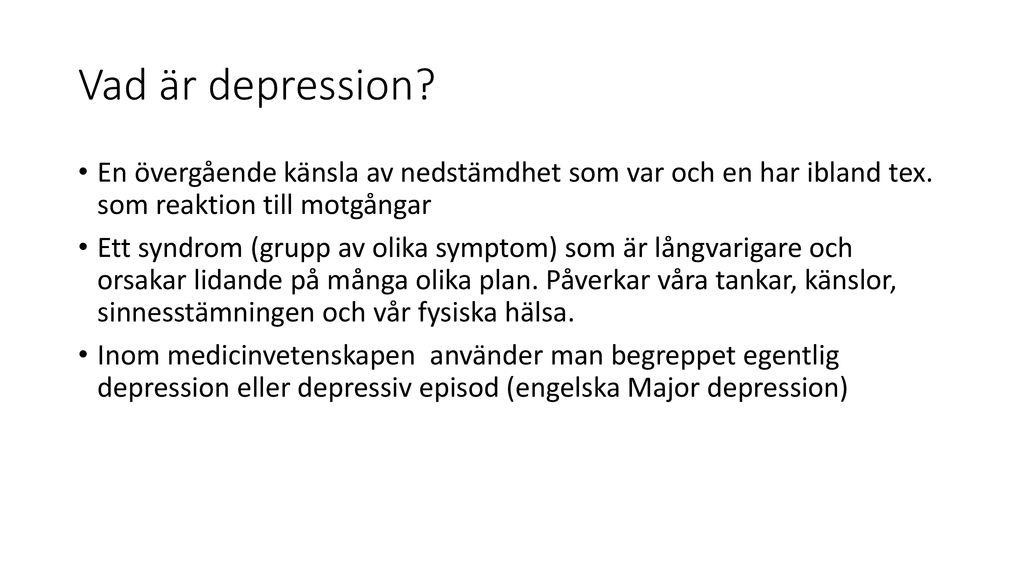 vad är egentlig depression