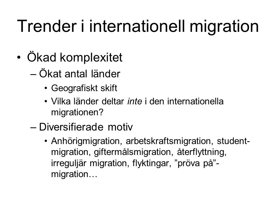 Trender i internationell migration