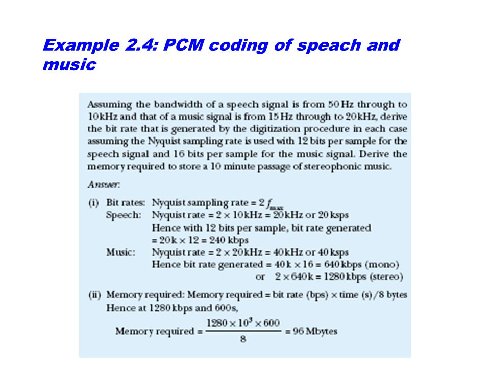 Example 2.4: PCM coding of speach and music