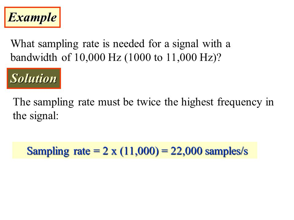Example What sampling rate is needed for a signal with a bandwidth of 10,000 Hz (1000 to 11,000 Hz)