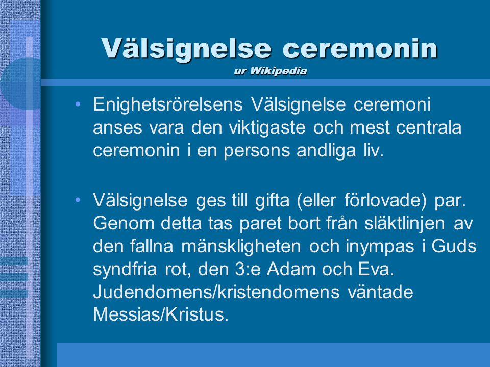 Välsignelse ceremonin ur Wikipedia