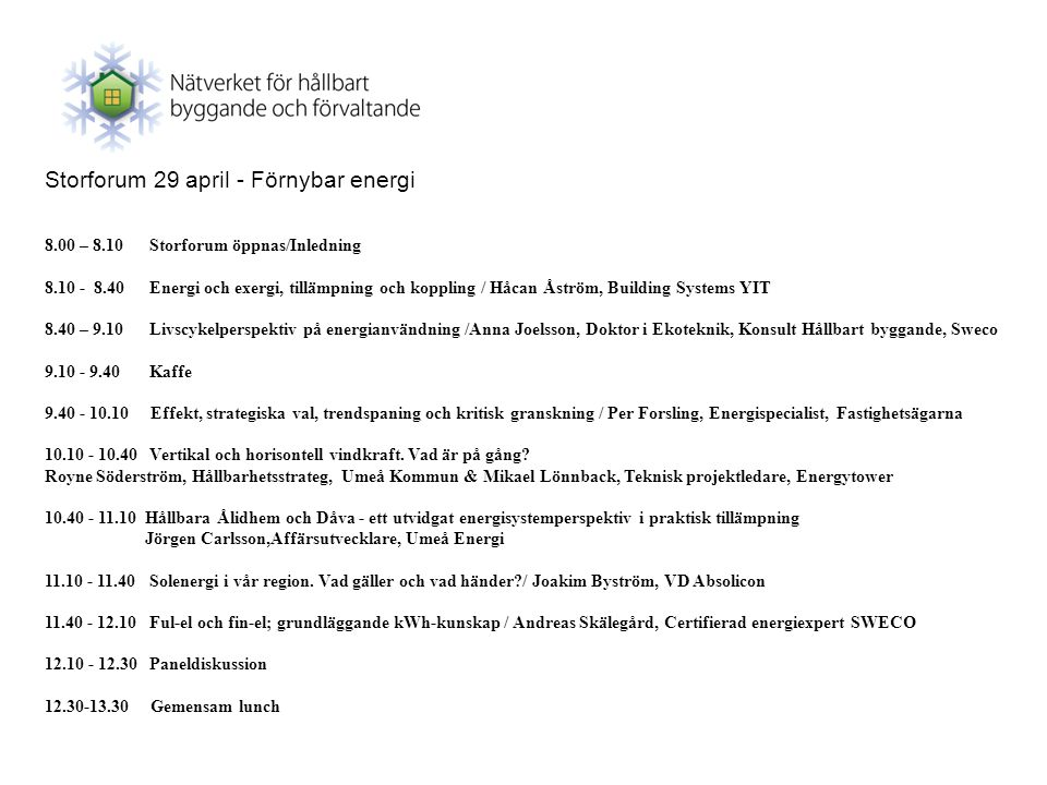 Storforum 29 april - Förnybar energi