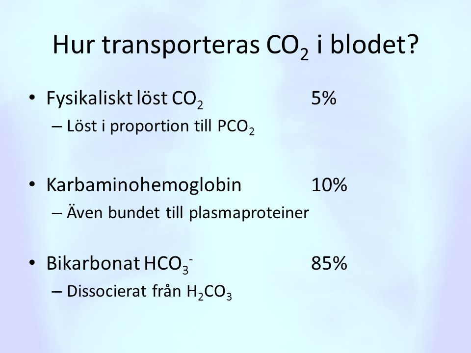 Hur transporteras CO2 i blodet