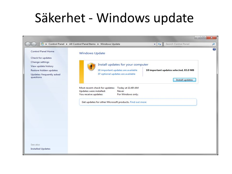 Säkerhet - Windows update