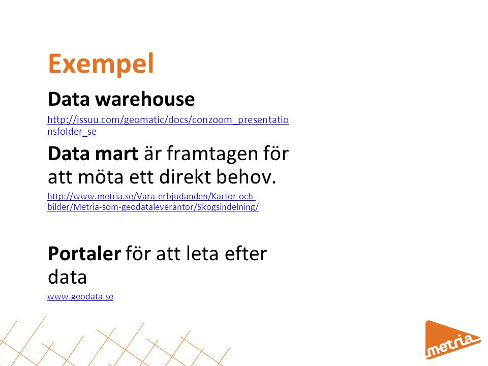 Exempel Data warehouse