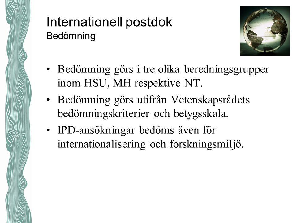 Internationell postdok Bedömning