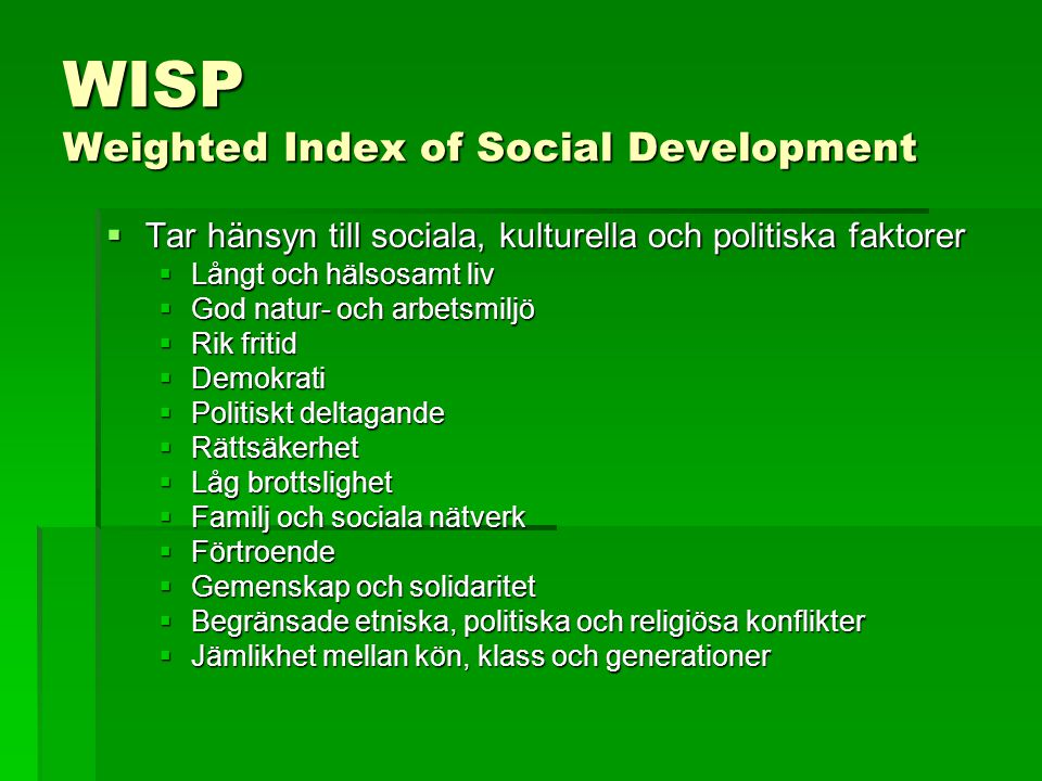 WISP Weighted Index of Social Development