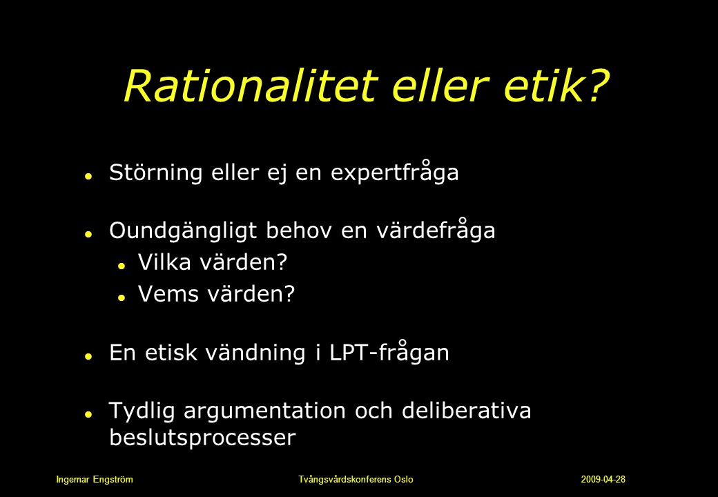 Rationalitet eller etik