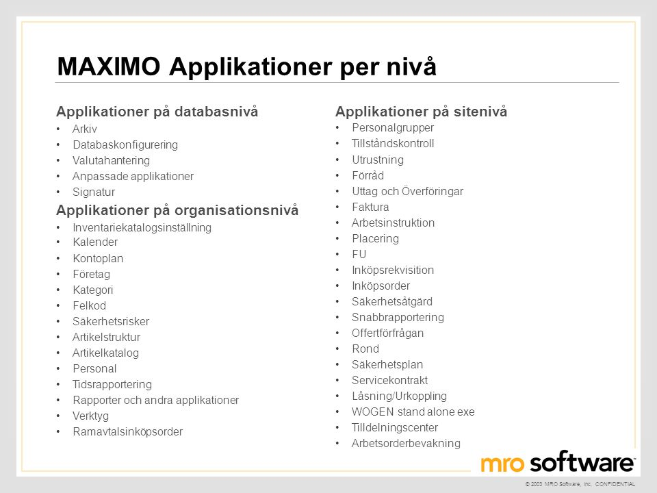 MAXIMO Applikationer per nivå