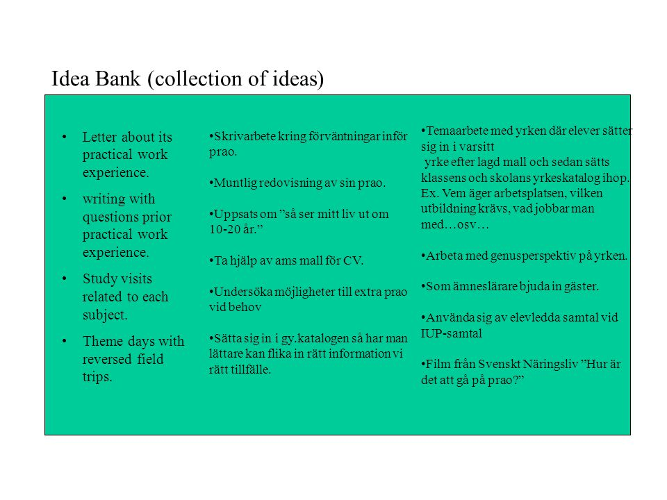 Idea Bank (collection of ideas)
