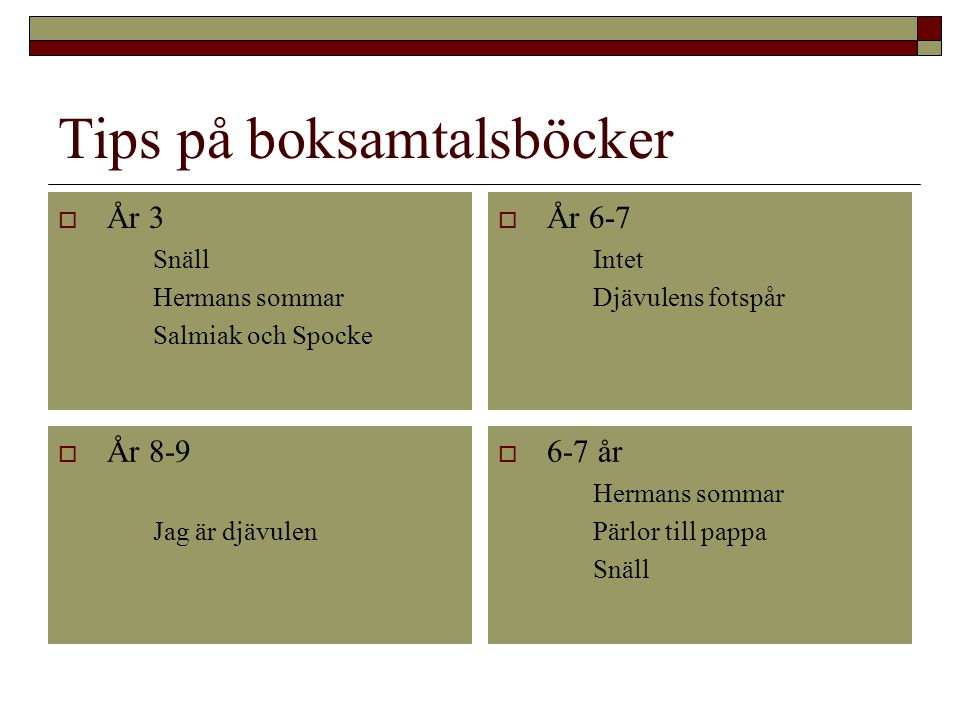 Tips på boksamtalsböcker