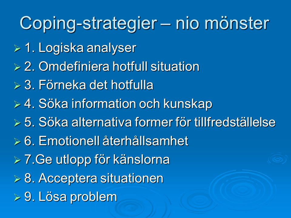 Coping-strategier – nio mönster