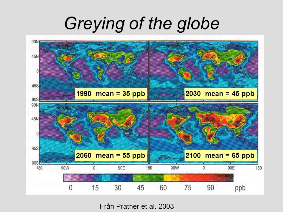 Greying of the globe 1990 mean = 35 ppb 2030 mean = 45 ppb