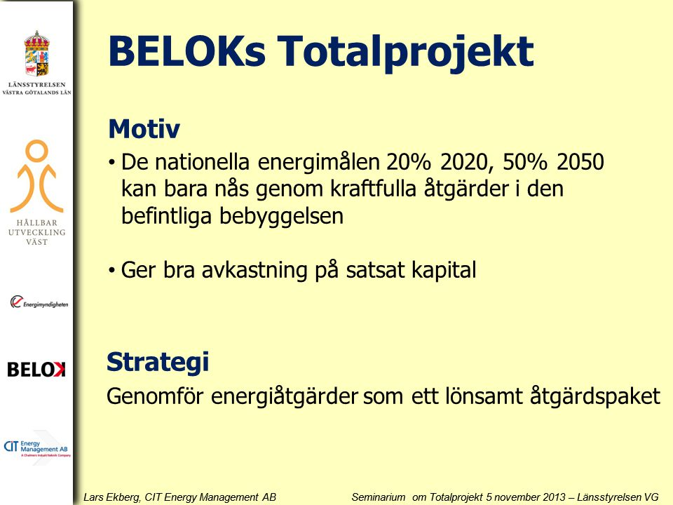BELOKs Totalprojekt Motiv Strategi