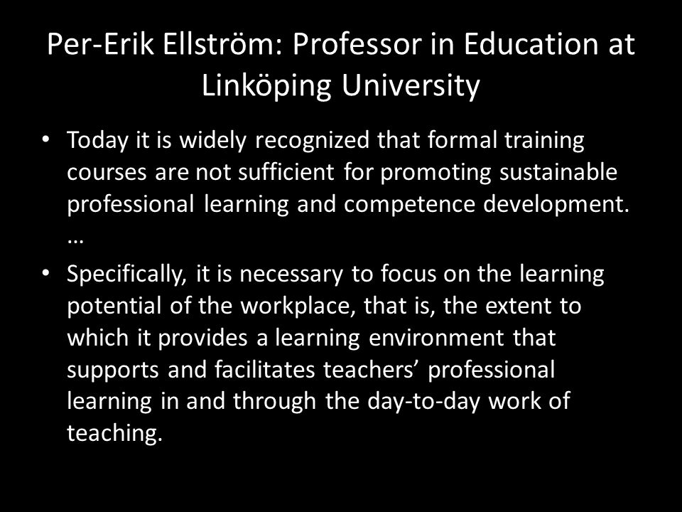 Per-Erik Ellström: Professor in Education at Linköping University