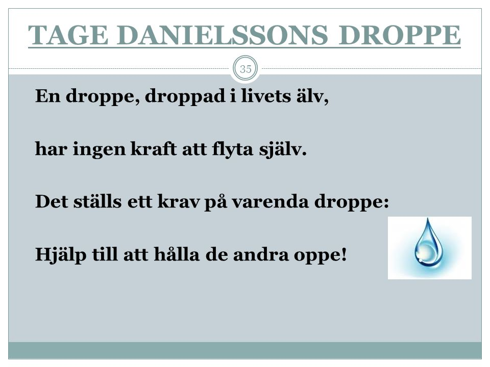 TAGE DANIELSSONS DROPPE