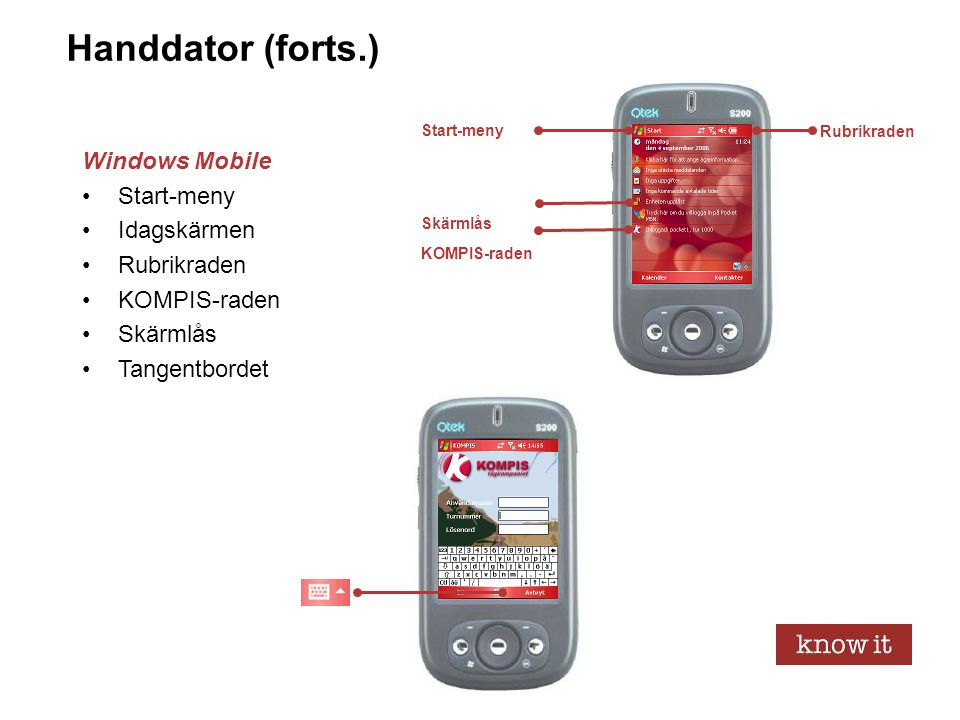 Handdator (forts.) Windows Mobile Start-meny Idagskärmen Rubrikraden