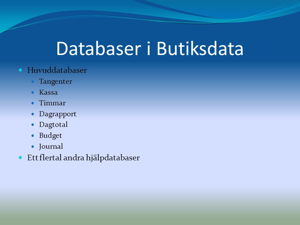 Databaser i Butiksdata