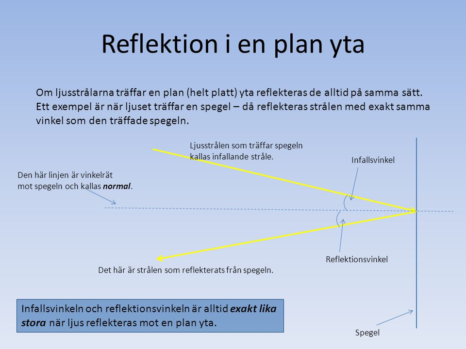 Reflektion i en plan yta