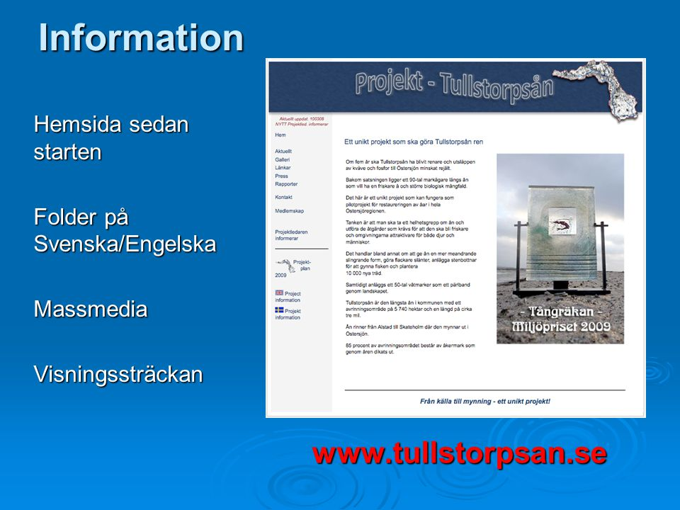 Information Hemsida sedan starten