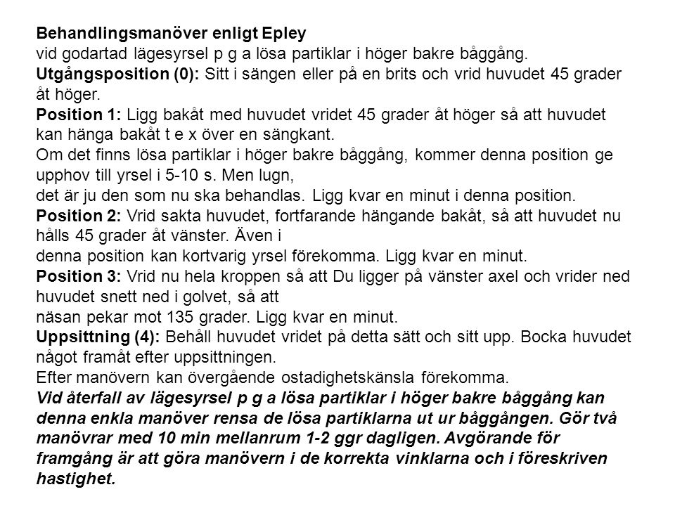Behandlingsmanöver enligt Epley