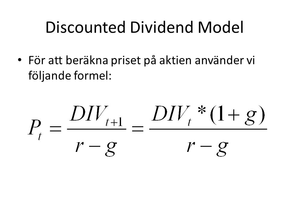 Discounted Dividend Model