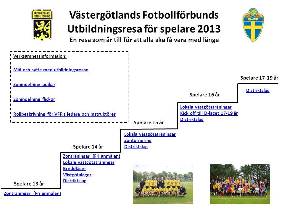 Västergötlands Fotbollförbunds Utbildningsresa för spelare 2013 En resa som  är till för att alla ska få 470a8084d6f60