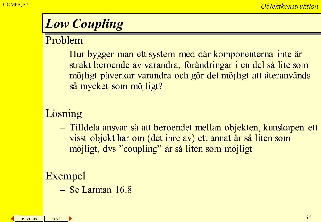 Low Coupling Problem Lösning Exempel