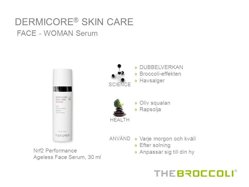 DERMICORE® SKIN CARE FACE - WOMAN Serum DUBBELVERKAN Broccoli-effekten