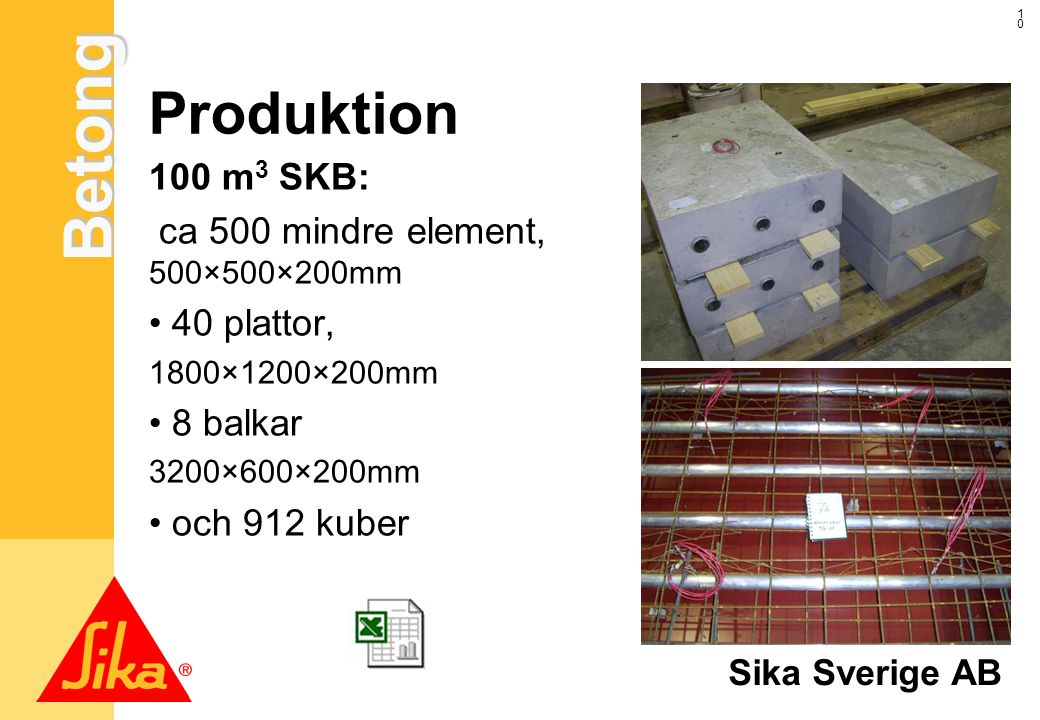 Produktion 100 m3 SKB: ca 500 mindre element, 500×500×200mm