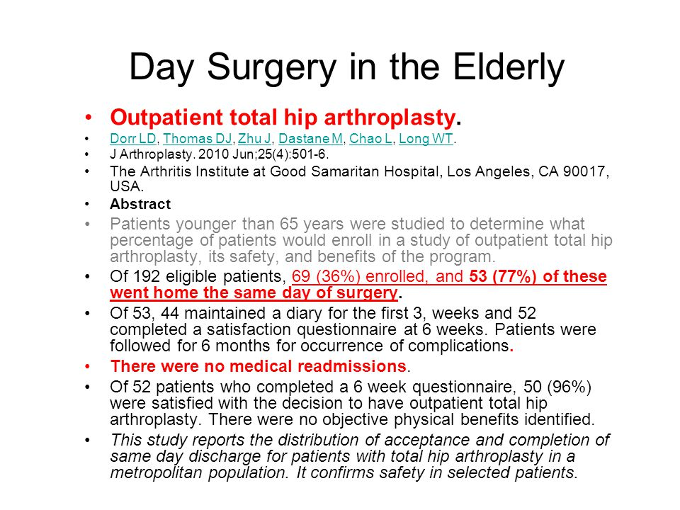 Day Surgery in the Elderly