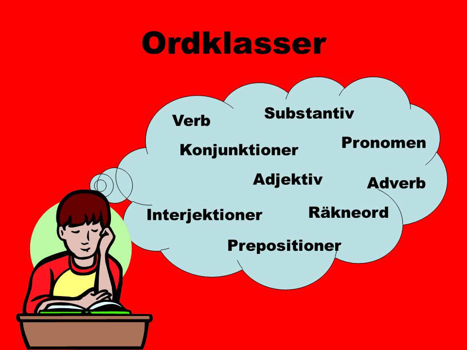 Ordklasser Substantiv Verb Pronomen Konjunktioner Adjektiv Adverb