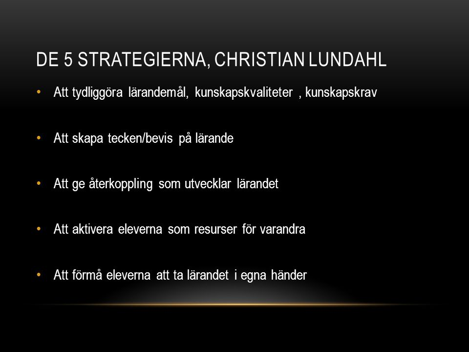 DE 5 STRATEGIERNA, Christian Lundahl