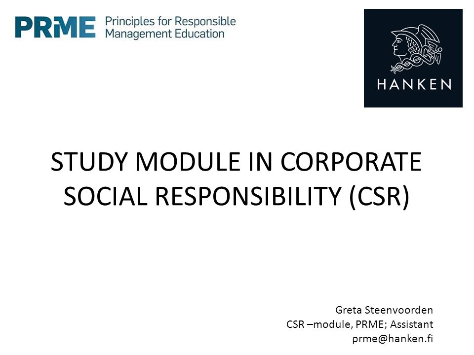 STUDY MODULE IN CORPORATE SOCIAL RESPONSIBILITY (CSR)