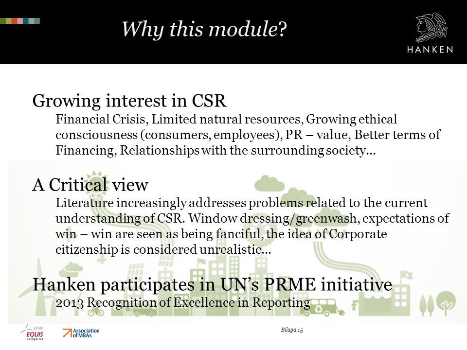 Why this module Growing interest in CSR A Critical view