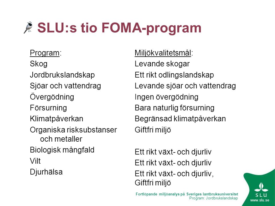 SLU:s tio FOMA-program