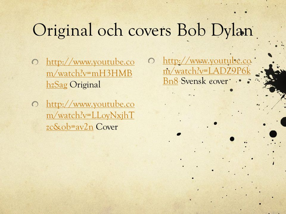 Original och covers Bob Dylan
