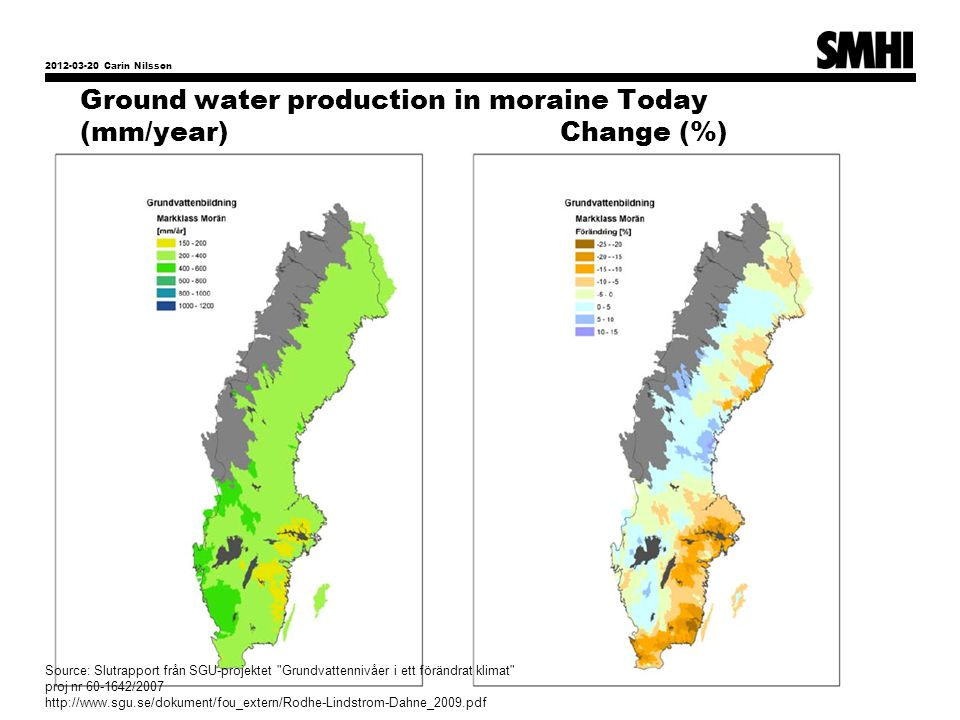 Ground water production in moraine Today (mm/year) Change (%)