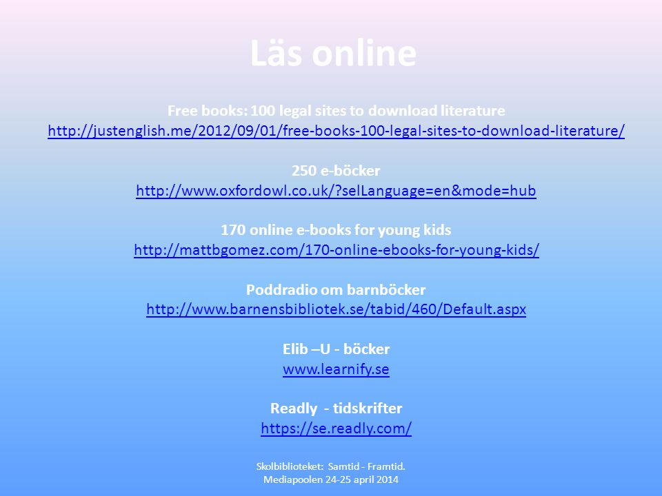 Läs online Free books: 100 legal sites to download literature