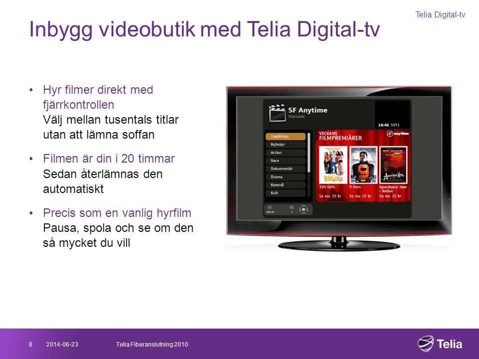 Inbygg videobutik med Telia Digital-tv