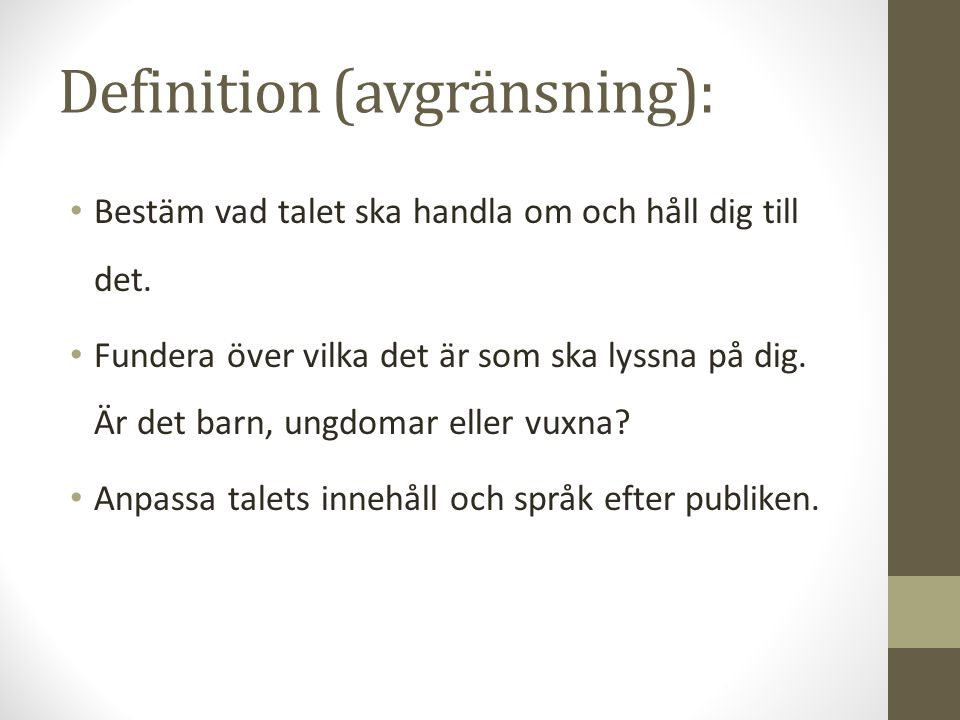 Definition (avgränsning):